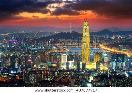 South Korea skyline of Seoul, The best view of South Korea with Lotte world mall at Namhansanseong Fortress.