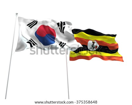 South Korea & Uganda Flags are waving on the isolated white background - stock photo