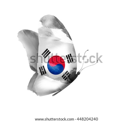 South Korea watercolor flag butterfly, isolated on white - stock photo