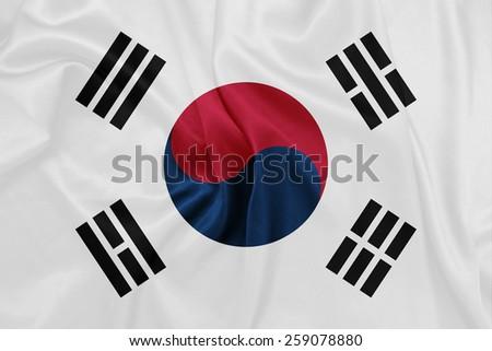 South Korea - Waving national flag on silk texture - stock photo