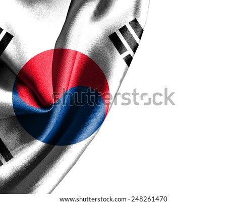 South Korea waving silky flag isolated on white background - stock photo