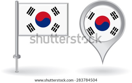 South Korean pin icon and map pointer flag. Raster version - stock photo