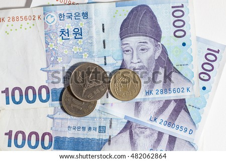 South Korean Won currency.