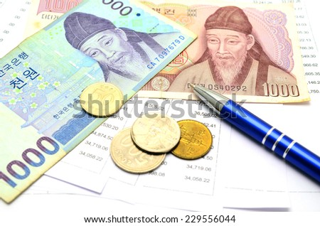 South Korean Won currency and Account Passbook - stock photo