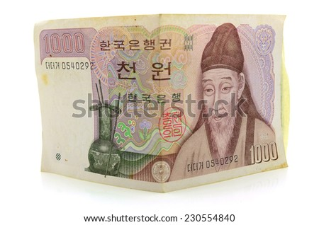 South Korean Won currency On a white background - stock photo