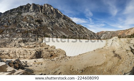 South Lake dam with no water visible because of California drought - stock photo