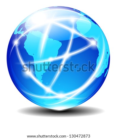 South Latin America Africa Global Communication Planet Data across World