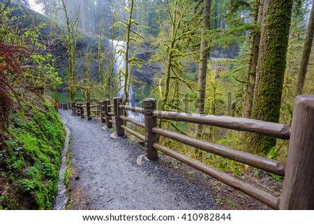 South Loop Trail, part of the Trail of Ten Falls at Silver Falls State Park in Oregon. - stock photo
