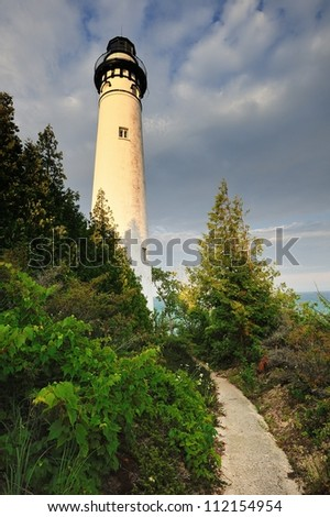 South Manitou Island Lighthouse, Sleeping Bear Dunes National Lakeshore. Michigan USA - stock photo