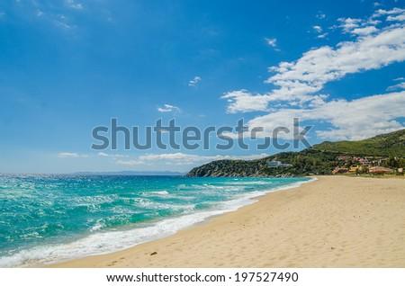South Mediterranean coast of Sardinia Island, Italy. Famous beaches of white sand.  - stock photo