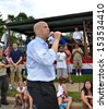 SOUTH PLAINFIELD,NJ-SEPTEMBER 2: Newark NJ Mayor and U.S. Senate candidate Cory Booker talks to parade-goers during the 56th Annual Labor Day Parade on September 2,2013 in South Plainfield,N.J. - stock photo