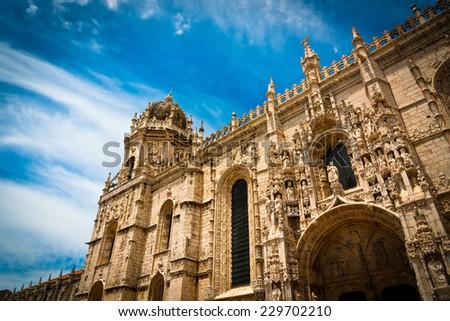 South portal of Hieronymites Monastery, Lisbon, Portugal. UNESCO World Heritage Site. - stock photo