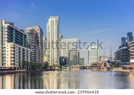 South Quay and Harbour Exchange at Canary Wharf - stock photo