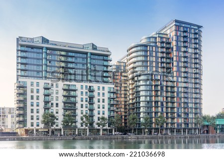 South Quay near Canary wharf - stock photo