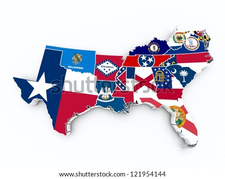 south region state flags on 3d map - stock photo