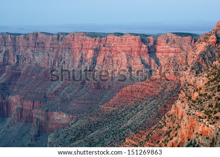 South Rim at twilight from Lipan Overlook, Grand Canyon National Park, Arizona, USA