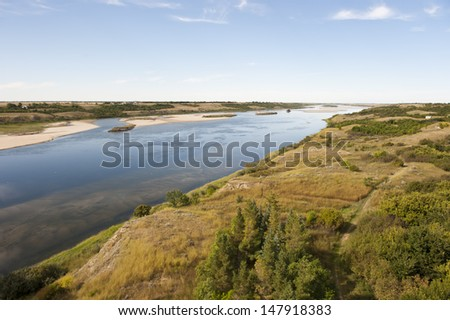 South Saskatchewan River in Outlook, Saskatchewan Canada