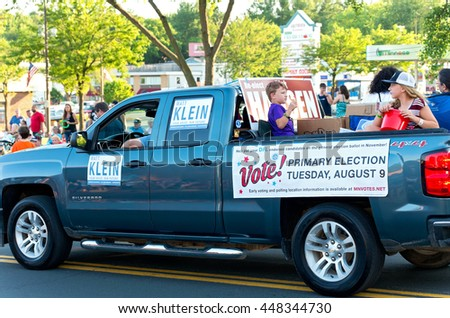 SOUTH ST. PAUL, MINNESOTA - JUNE 24, 2016: Motorcade of local Senate District 52 candidates at annual South St. Paul Kaposia Days Grande Parade on June 24 - stock photo