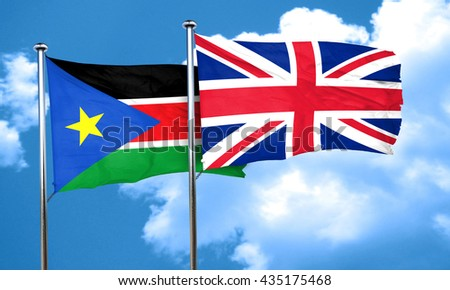 south sudan flag with Great Britain flag, 3D rendering