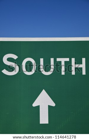 South this way - sign seen in Ohio - stock photo