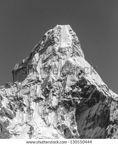 South wall of the peak Ama Dablam (6814 m) - Nepal, Himalayas (black and white)