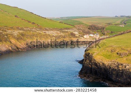 South West Coast Path along hillside above village of Port Quin, Cornwall, England, UK