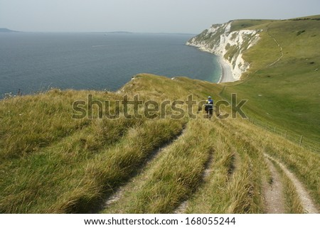south west coast path in Dorset - stock photo
