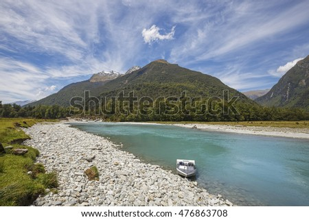 South Westland World Heritage area with Haast River and Jet boat, Haast, New Zealand.
