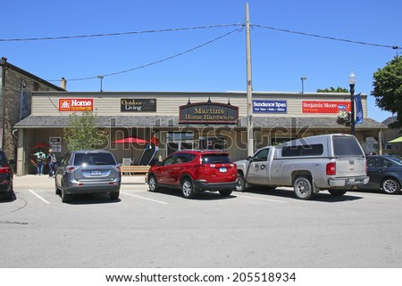 SOUTHAMPTON, CANADA - JULY 7, 2014: Shop frontages. Southampton is located  on the shores of Lake Huron, Bruce County, Ontario at the mouth of the Saugeen River and is a tourist destination.