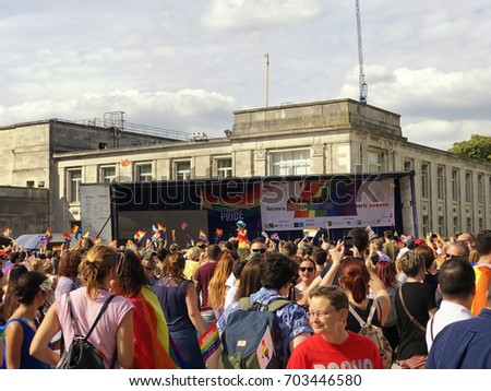 SOUTHAMPTON, UK - August 26 2017: Southampton Pride 2017, City's second annual Pride event, in Southampton UK. Crowd watching stage.