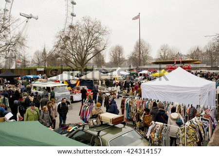 Southbank, London, UK. 14th March 2015. EDITORIAL - The Classic Car Boot Sale, held at Southbank in Central London, traders with market stalls selling from food and drink to vintage collectables.
