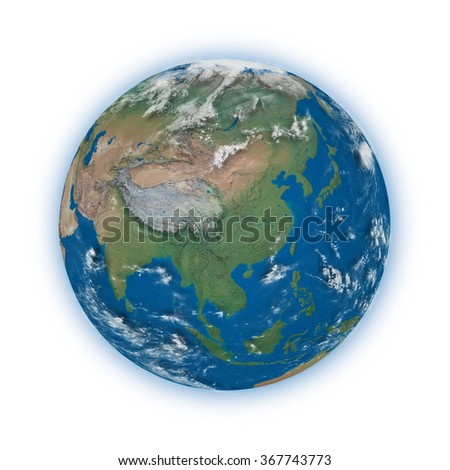 Southeast Asia on blue planet Earth isolated on white background. Highly detailed planet surface. Elements of this image furnished by NASA.