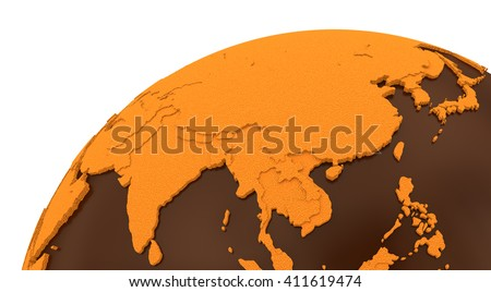 Southeast Asia on chocolate model of planet Earth. Sweet crusty continents with embossed countries and oceans made of dark chocolate. 3D rendering. - stock photo