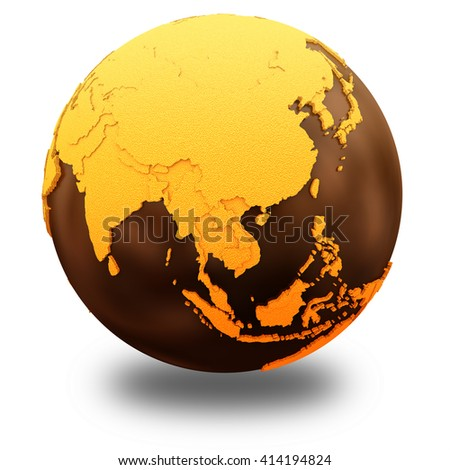 Southeast Asia on chocolate model of planet Earth. Sweet crusty continents with embossed countries and oceans made of dark chocolate. 3D illustration isolated on white background with shadow. - stock photo