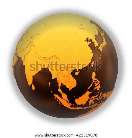 Southeast Asia on chocolate model of planet Earth. Sweet crusty continents with embossed countries and oceans made of dark chocolate. 3D illustration isolated on white background. - stock photo