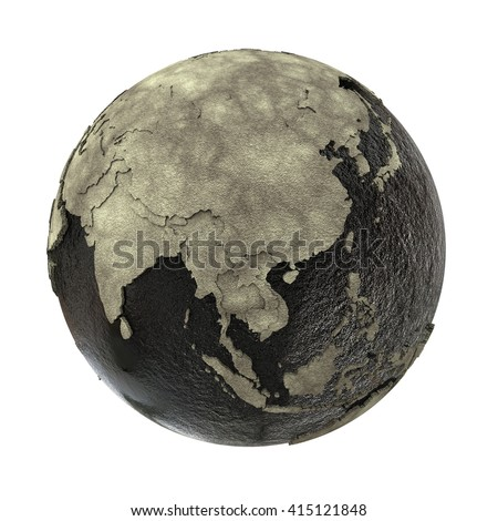 Southeast Asia on 3D model of planet Earth with black oily oceans and concrete continents with embossed countries. Concept of petroleum industry. 3D illustration isolated on white background. - stock photo