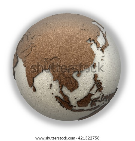 Southeast Asia on 3D model of planet Earth with oceans made of polystyrene and continents made of cork with embossed countries. 3D illustration isolated on white background. - stock photo