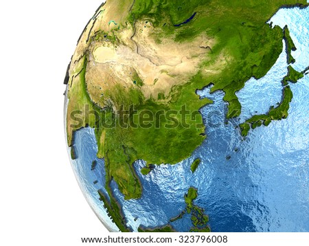 Southeast Asia on highly detailed planet Earth with embossed continents and country borders. Elements of this image furnished by NASA. - stock photo