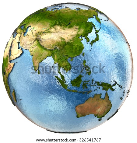 Southeast Asia on highly detailed planet Earth with embossed continents and country borders. Isolated on white background. Elements of this image furnished by NASA.