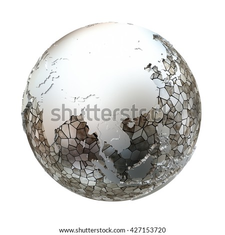 Southeast Asia on metallic model of planet Earth. Shiny steel continents with embossed countries and oceans made of steel plates. 3D illustration isolated on white background. - stock photo