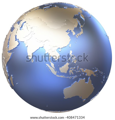 Southeast Asia on metallic model of planet Earth with embossed continents and visible country borders. 3D illustration isolated on white background. - stock photo