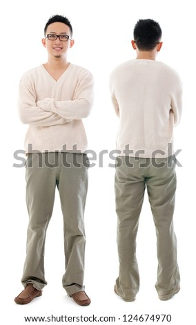 Southeast Asian Chinese male. Front and rear view of Asian man isolated on white background. - stock photo