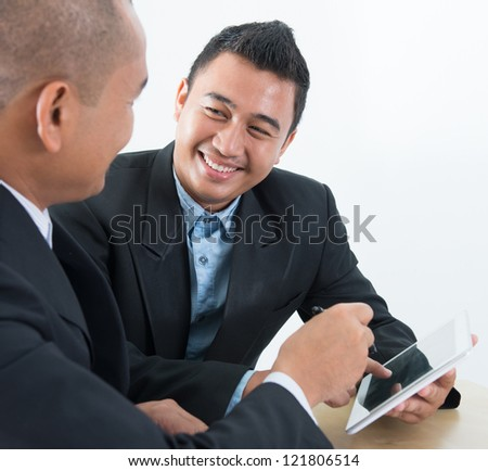 Southeast Asian ebusiness activity, business people on network online discussion - stock photo