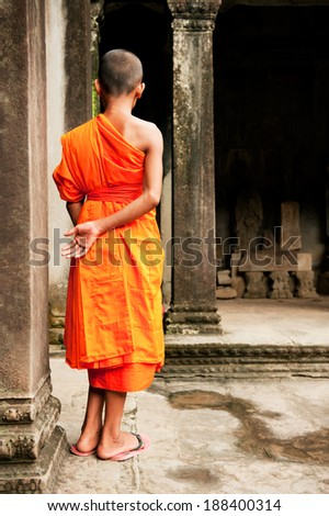 Southeast Asian young little Buddhist monks - stock photo