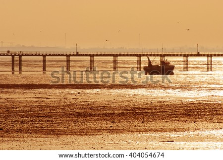 Southend Pier at sunset, Southend-on-Sea, Essex, England
