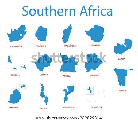 southern africa - maps of territories - stock photo