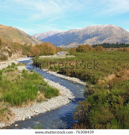 Southern alpine alps mountain at Arthur's Pass National Park New Zealand - stock photo