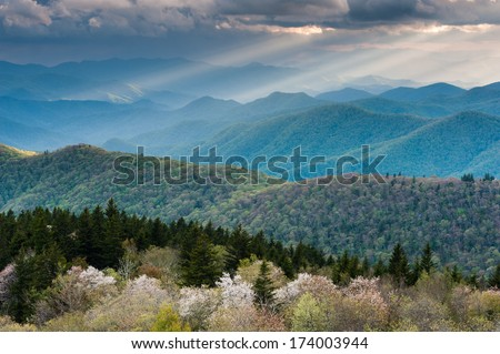 Southern Appalachian Mountain Scenic from a Blue Ridge Parkway Overlook - stock photo