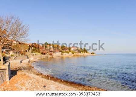 Southern bay of the old town of Nesebar, Bulgaria, Bulgarian Black Sea Coast. UNESCO World Heritage Site