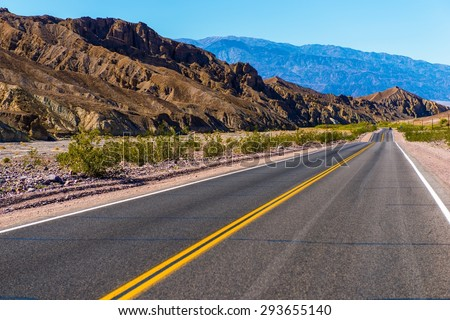 Southern California Desert Highway near Death Valley. United States. - stock photo